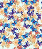Pattern, flower, floral, seamless, abstract, butterfly, Wallpaper, decoration, pink, flowers, design, illustration, nature, white,. Bright multi-colored seamless stock illustration