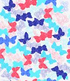 Pattern, flower, floral, seamless, abstract, butterfly, Wallpaper, decoration, pink, flowers, design, illustration, nature, white,. Bright multi-colored seamless vector illustration