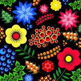 Pattern flower illustration. The pattern of flower illustration background petals leaves berries beautiful Royalty Free Stock Images