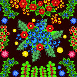 Pattern flower illustration. The pattern of flower illustration background petals leaves berries beautiful Stock Photo