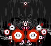 Pattern from flower red and white on dark backgrou Royalty Free Stock Images