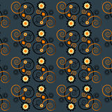 Pattern with flower seamless texture. Pattern with curl and flower seamless texture Royalty Free Stock Photography
