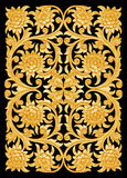 Pattern of flower wooden carved on black Stock Photo