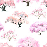 Pattern of flowering Japanese cherry garden with watercolor Stock Photography