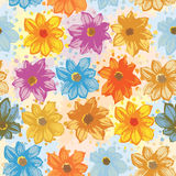 Pattern with flowers. In yellow, orange, purple and blue Royalty Free Stock Images