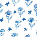 Pattern, flowers, aquarelle cornflower Stock Image