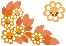 The pattern of flowers and autumn leaves. Large yellow flowers and autumn leaves Royalty Free Stock Image