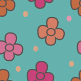 Pattern with flowers on a beige background 1 Stock Photos