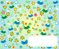 Pattern with flowers and birds. Floral background Royalty Free Stock Images