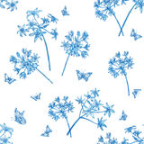 Pattern flowers blue and butterflies. Royalty Free Stock Photo