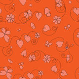 Pattern of flowers, butterflies, hearts and lines Royalty Free Stock Photography