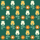 Pattern with flowers and colorful tulips Royalty Free Stock Photos
