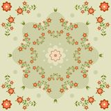Pattern with flowers, dots Royalty Free Stock Image