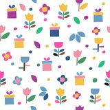 Pattern of flowers and gifts. Seamless pattern of flowers and gifts icons on a white background. Wrapping paper stock illustration