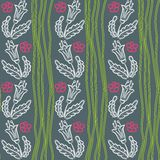 Pattern with flowers and green waves Stock Photography