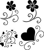 Pattern of flowers and hearts Royalty Free Stock Image