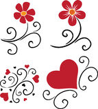 Pattern of flowers and hearts Royalty Free Stock Photo