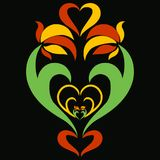 Pattern of flowers and hearts on a black background.  Royalty Free Stock Images