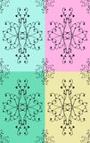 Pattern with flowers and leaves. And branches in four different variation Stock Image
