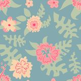 Pattern of flowers and leaves, Hawaii vector illustration