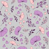 Pattern with flowers,petals and branches stock illustration