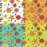 4 pattern of flowers and petals. White, orange, turquoise and green background Stock Images
