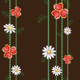 Pattern with flowers and red diamond hearts. On brown Stock Illustration