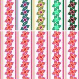 Pattern: flowers and stripes Stock Photo