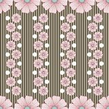 Pattern with flowers stripes and white dots Stock Image
