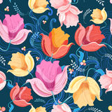 Pattern of flowers tulips Stock Images