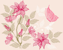 Pattern with flowers in vector. Floral seamless backgrounds for design of fabrics and wallpapers in vector Royalty Free Stock Image