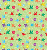 Pattern with flying birds carrying a branch with a heart. Royalty Free Stock Photos