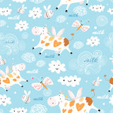 Pattern flying cow Stock Images
