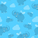 Pattern flying elephants Stock Photo