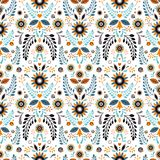 Pattern Folklore motives-2. A seamless pattern in the style of the Slavic people`s vegetable motifs. Decorative background or cover stock illustration