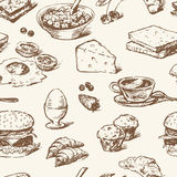 Pattern of the food for breakfast royalty free illustration
