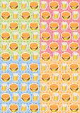 The pattern of food with burgers and pitchers of beer. On colored background Vector Illustration
