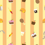 Pattern with food. Seamless pattern with various food, sweets and fast food Stock Photos