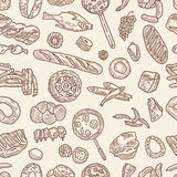 Pattern of the foodstuff. Vector pattern of the various food Royalty Free Stock Image