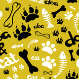 Pattern with footprints and bones Stock Photos