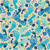 Pattern with footprints and handprints stock illustration