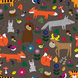 The pattern of forest animals. On a brown background forest animals, birds and plants Royalty Free Stock Images