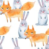 Pattern with forest animals. 1. Watercolor seamless background with fox and rabbit Stock Photography