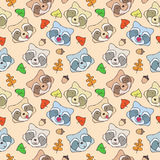 The pattern of forest raccoons. Seamless pattern of cartoon forest raccoons with different emotions Royalty Free Stock Images