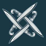 Pattern of four crossed swords. Royalty Free Stock Photography
