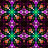 Pattern from four fractals  in black, purple and green. Computer Stock Images