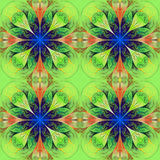Pattern from four fractals  in green, brown and darkblue. Comput Stock Images