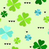 Pattern with four leaf clover leaves Stock Image