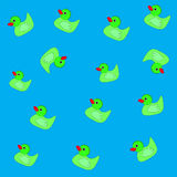 Ducks pattern on blue background. Pattern fourteen colors ducks on blue background Royalty Free Stock Photo