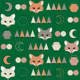 Pattern with fox and moon. Stock Images